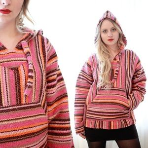 Vintage Mexican woven cotton hooded poncho hoodie